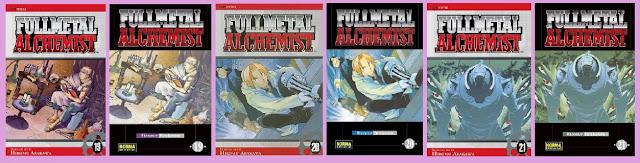 portadas de los tomos 19 a 21 de los cómics de Fullmetal Alchemist