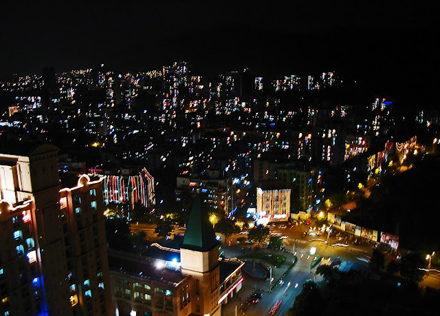 city with lights on Diwali