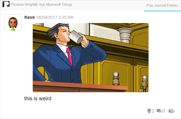 Phoenix Wright Ace Attorney Trials and Tribulations drinking coffee