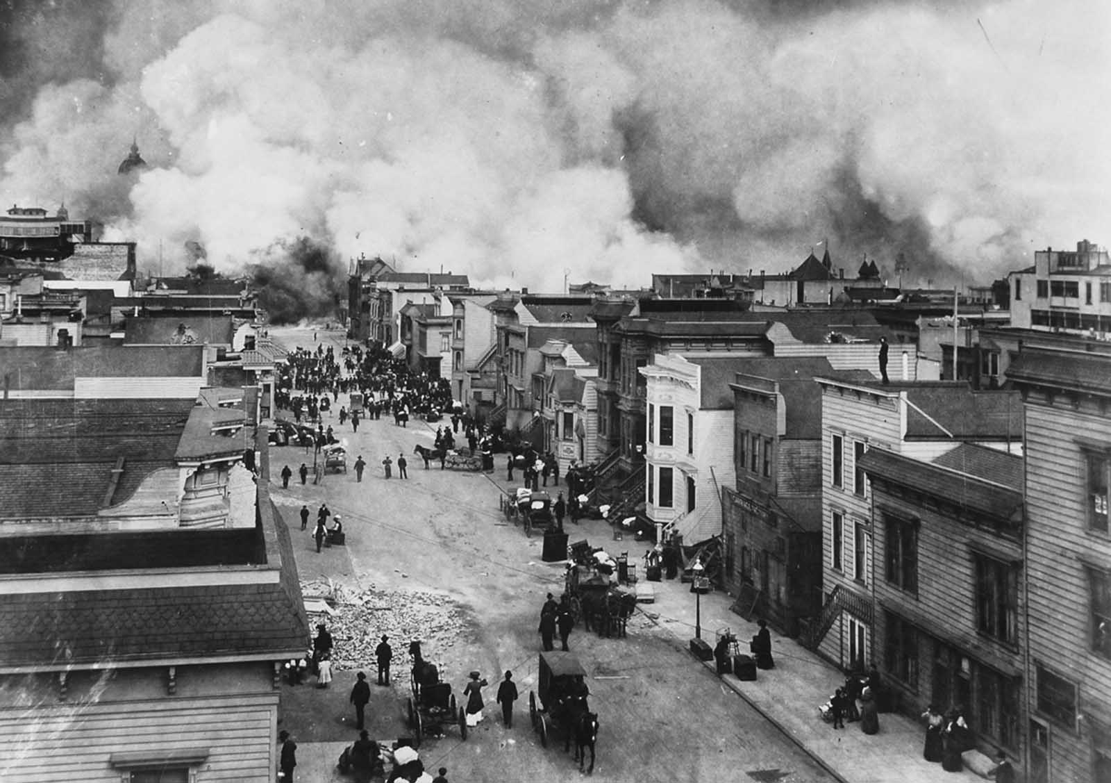 "San Francisco Mission District burning in the aftermath of the San Francisco Earthquake of 1906. The original caption reads: ""Probably Fulton Street, near Gough. This was the edge of the fire district."""