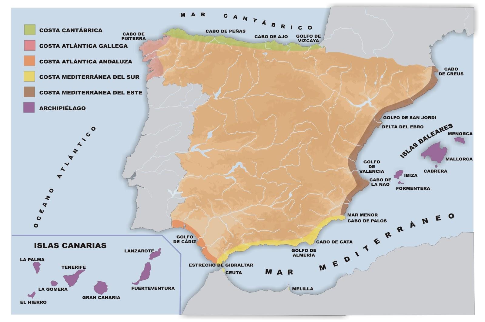 Mapa De España Costas.Me Gustan Las Sociales Espana Mapa Fisico Ii Rios Y Costas