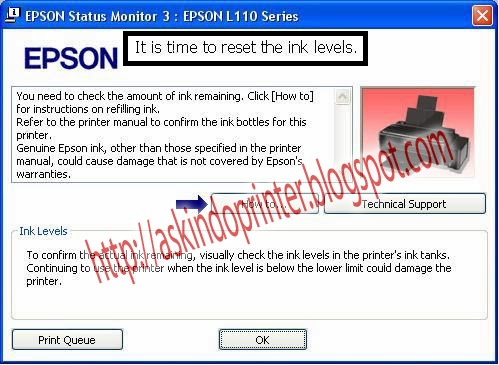 Ink run out Solution, Reset Ink Level Epson L110, L210, L300