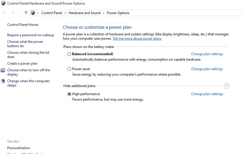 Settings High Performance Power Plan