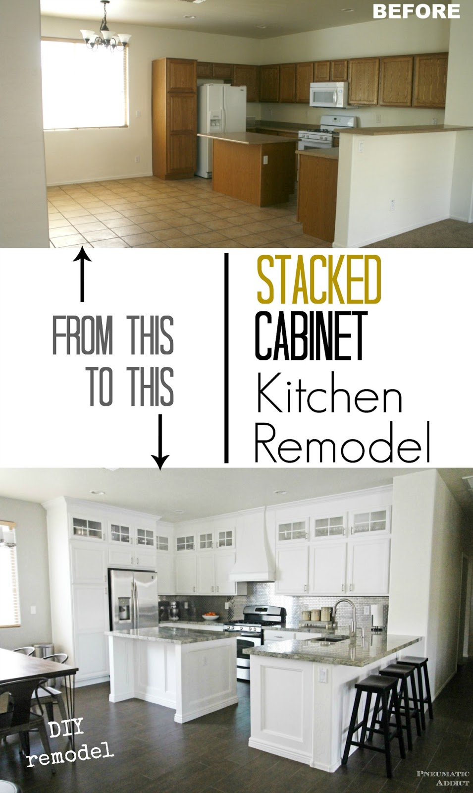 Stacked Cabinet Kitchen Makeover | Pneumatic Addict on diy home gardening, diy ice dam removal, diy home drywall, diy pest control, diy home repair, diy home media rooms, diy home crafts, diy home decor, diy home foundations, diy home photography, diy garden, diy home building, diy home plumbing, diy home business, diy kitchen backsplash, diy home designing, diy home equipment, diy home windows, diy home entertainment, diy home handyman,