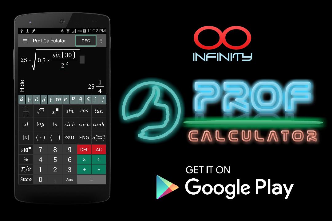 تطبيق الآلة الحاسبة العلمية Prof Calculator المجانية للأندرويد coobra.net