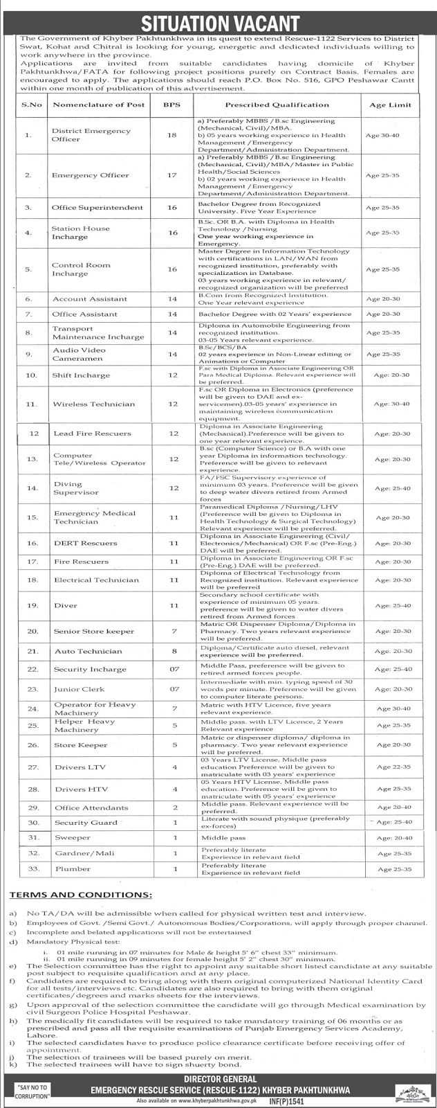 Government Jobs in Emergency Rescue Service 1122