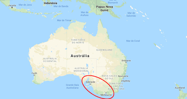 Australia map - meteor location