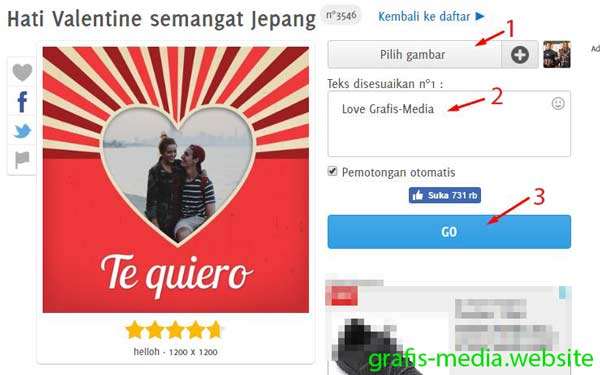 kita akan menciptakan foto mempunyai bingkai love secara online Cara Edit Foto Bingkai Love Di Pixiz