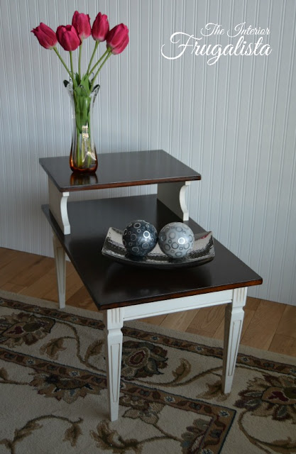 Mid Century Modern Tiered Table Makeover After