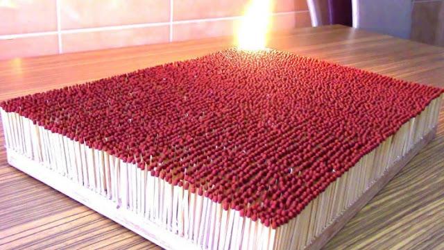 Así se consumen 6000 cerillos al encenderlos