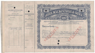 share certificate from John Mackintosh & Sons