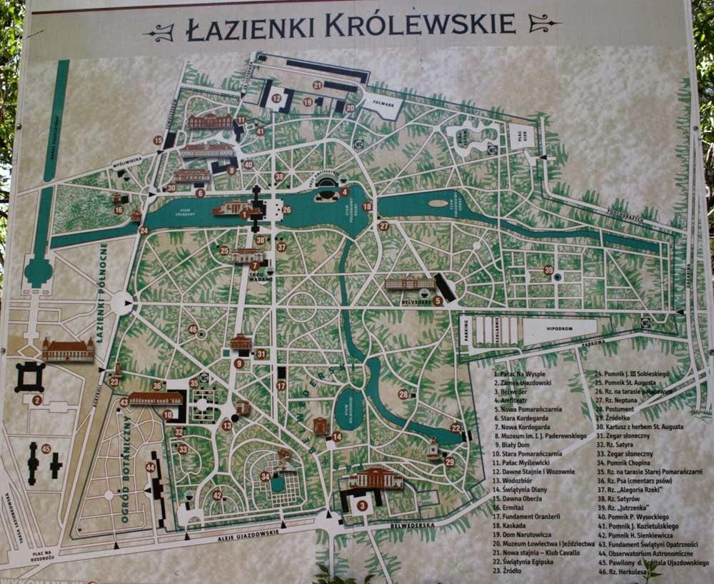 Mapa Parque Lazienki, Varsovia