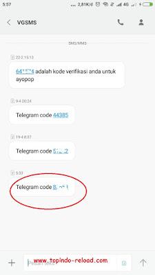 penampakan kode telegram di sms admin topindo