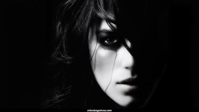 mulher sombrio gotica rosto preto
