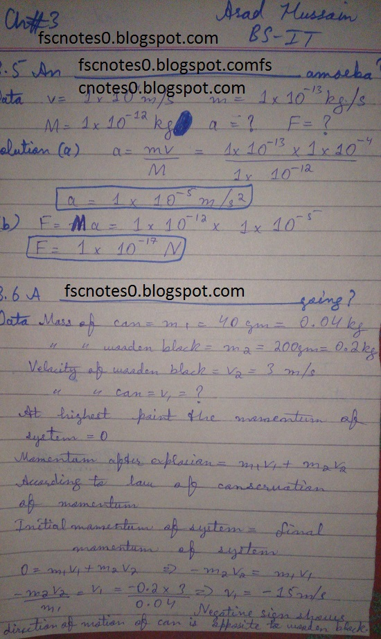 F.Sc ICS Notes: Physics XI: Chapter 3 Motion and Force Numerical Problems Asad Hussain 3