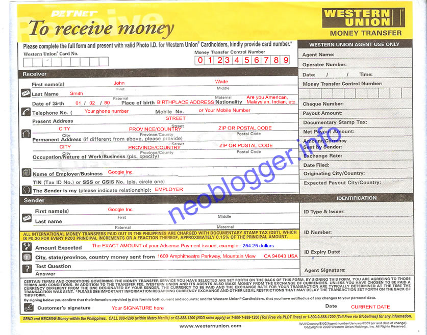 Pictures of Western Union Receive Money Order - #rock-cafe
