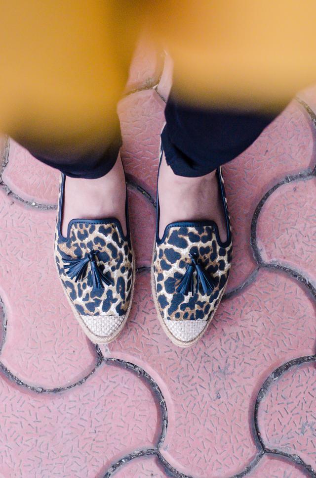 Leopard tassled espadrille flats