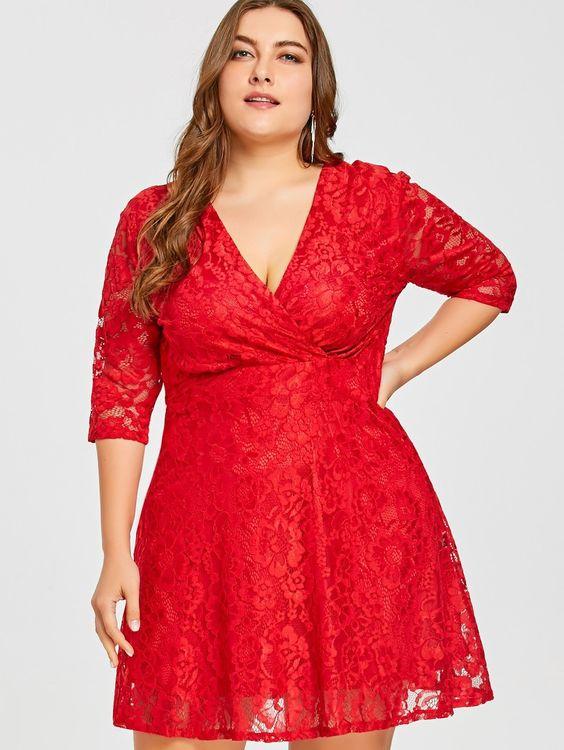 Vestidos de fiesta cortos para gorditas rojos