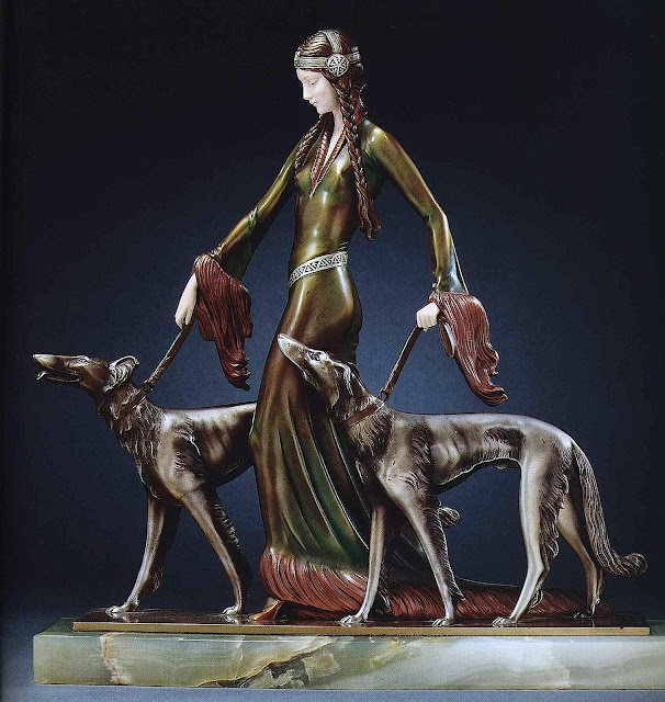Art Deco figurine by Otto Poertzel woman with dogs