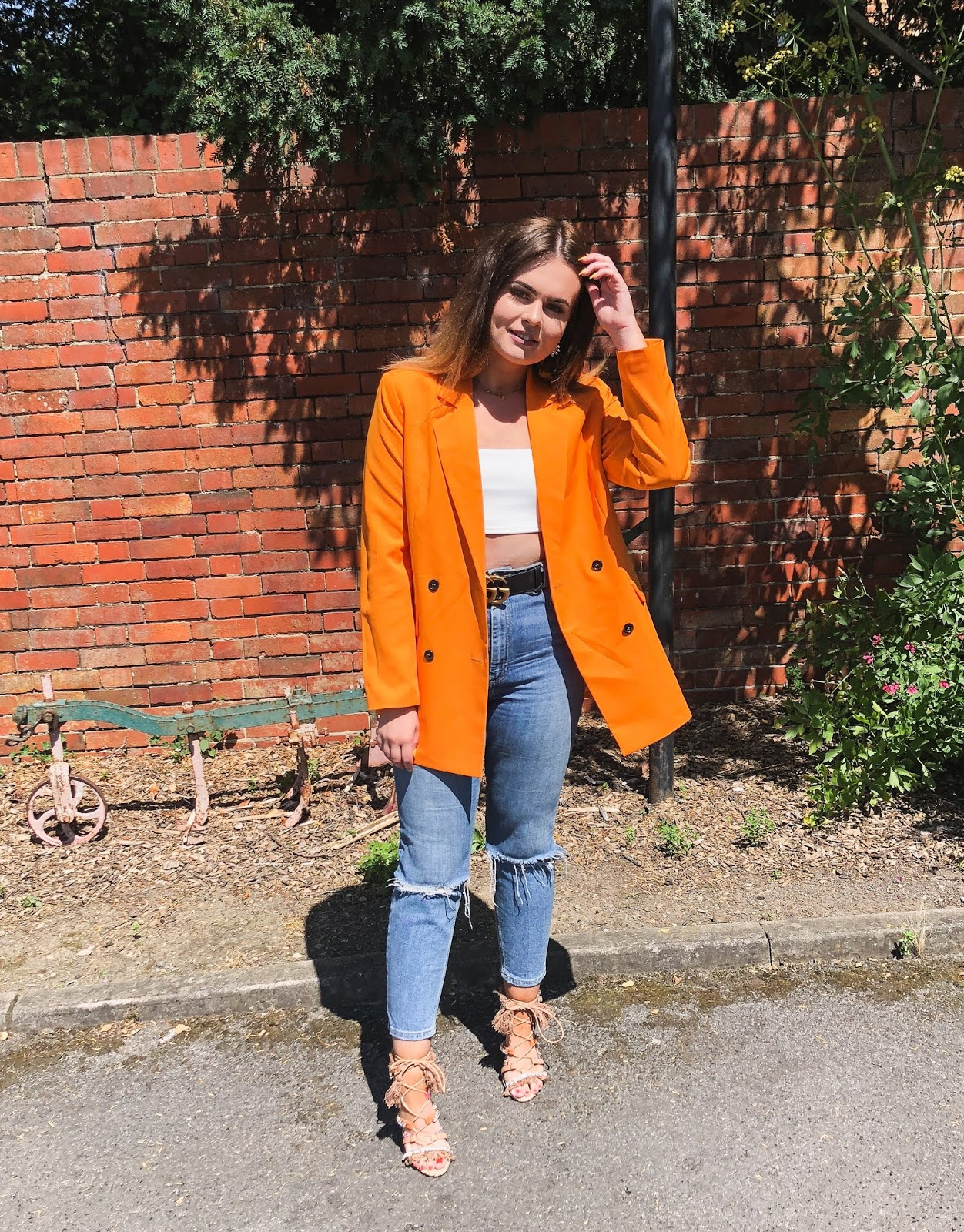 orange missguided blazer, missguided outfit, babesofmissguided, what is blogging, fashion blogger 2018