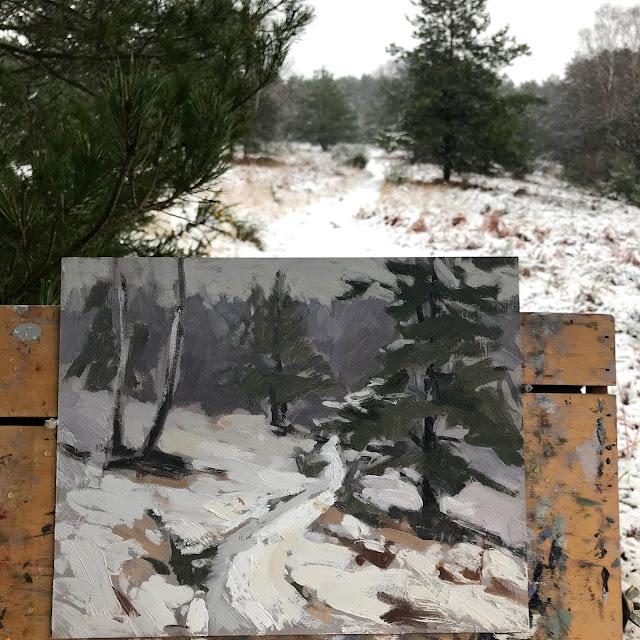 #271 'Snow on Bramshott Common' 8×10″