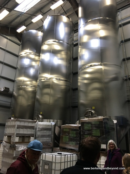 stainless-steel storage tanks at Séka Hills Olive Mill and Tasting Room in Brooks, in theCapay Valley of California
