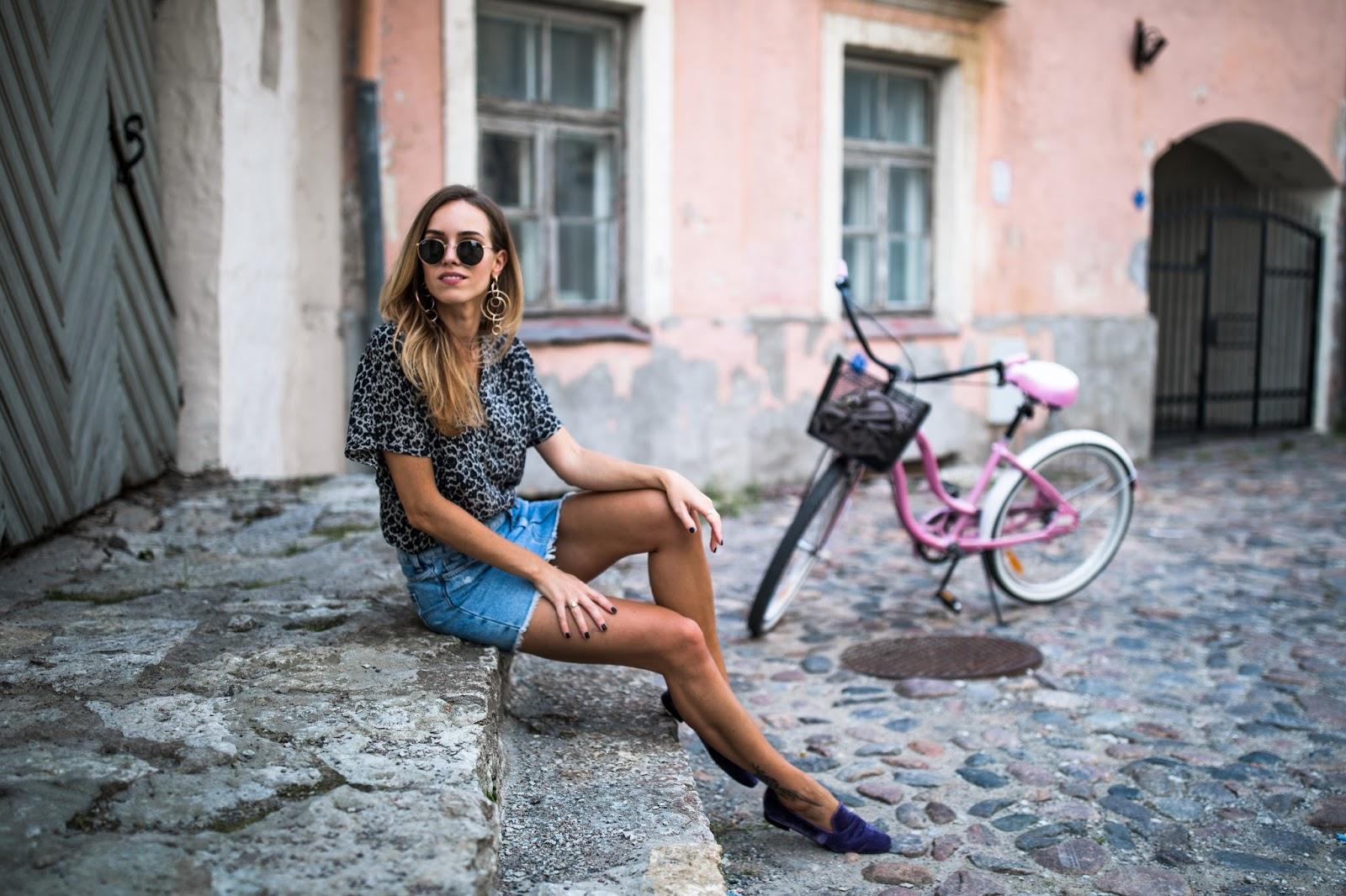 denim mini skirt velvet flats outfit