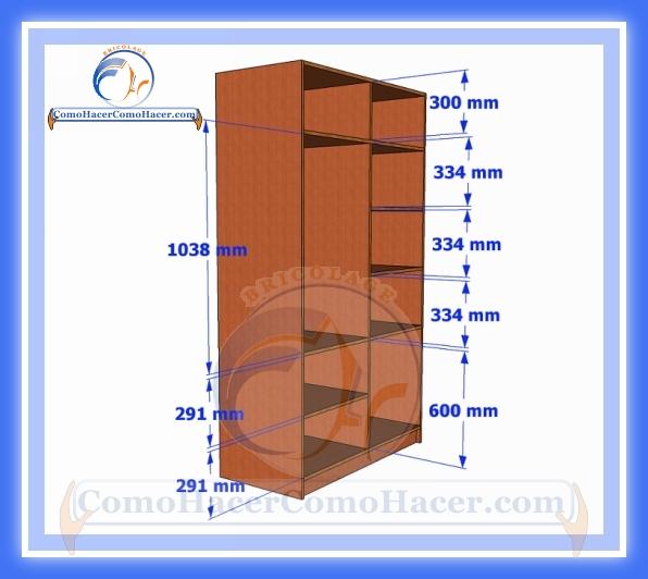Placard de melamina plano con medidas web del bricolaje for Medidas para closets de madera