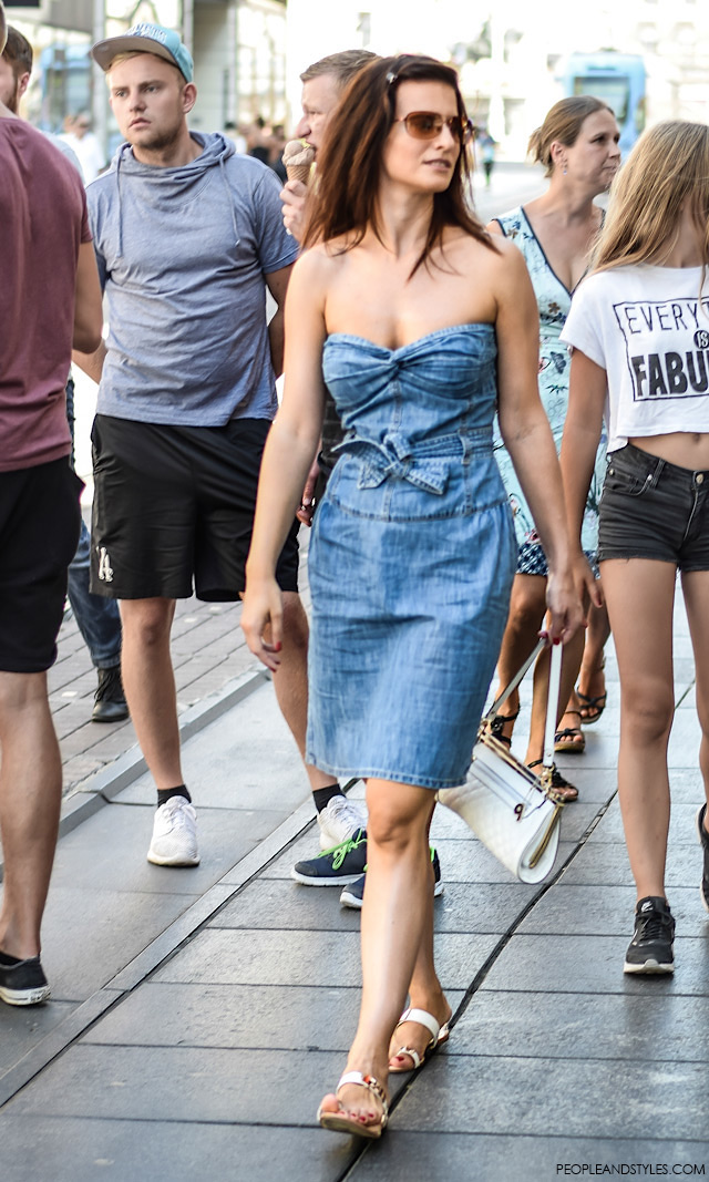 how to wear denim dress, street style fashion back to school
