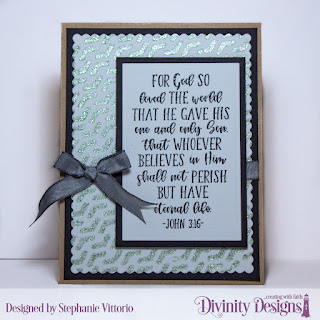 Divinity Designs Stamp Set: John 3:16, Custom Dies: Rectangles, Scalloped Rectangles, Mixed Media Stencil: Arrows
