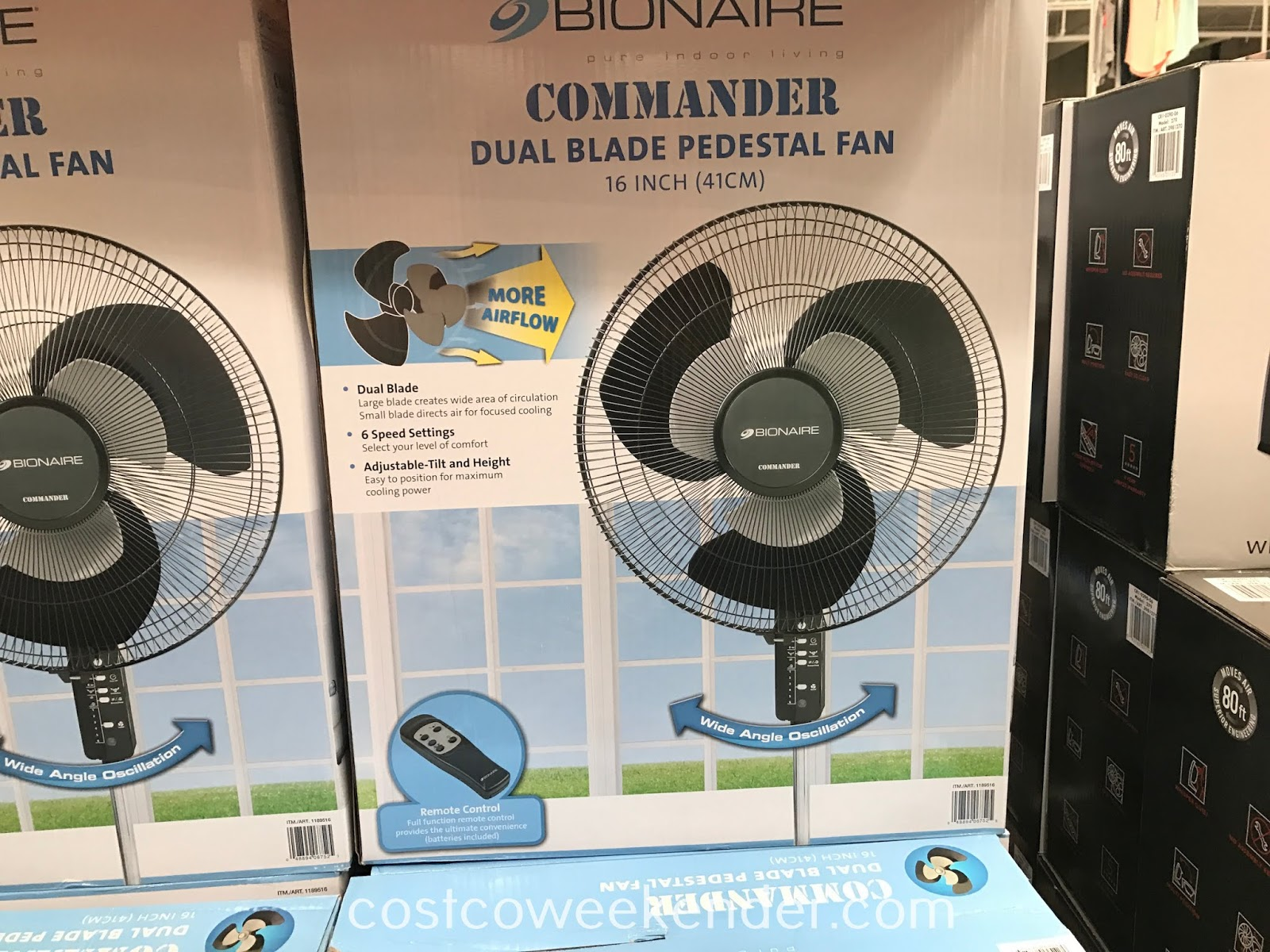 Cool a room and make it more comfortable for yourself with the Bionaire Commander Dual Blade Pedestal Fan