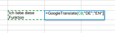 Google Translate - mit der Formel =GoogleTranslate(