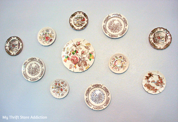 Vintage English transferware plate gallery wall