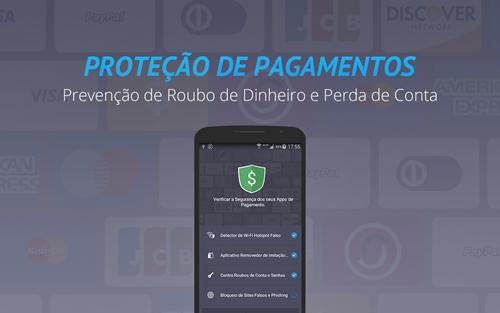 Protege enquanto você acessa aplicativos de bancos e lojas.