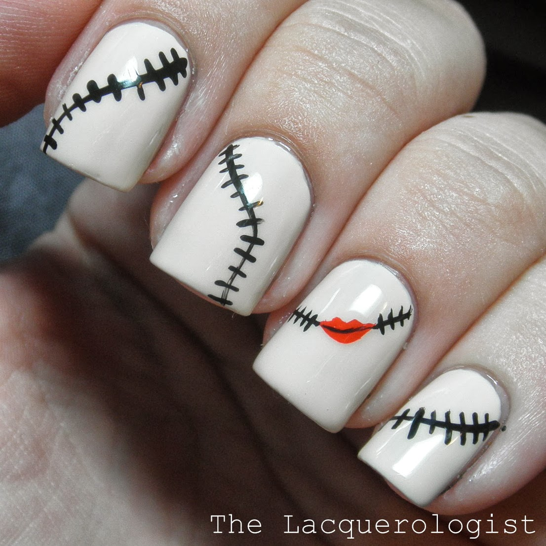What are you planning on wearing on your nails for Halloween? I've got a  few more spooky manicures to share this week! - Halloween Nail Art: The Nightmare Before Christmas Sally-Inspired
