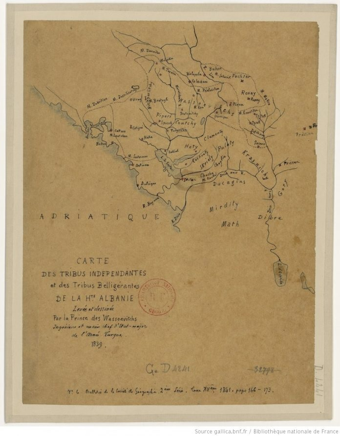 Albanian tribes in Montenegro, rare map of 1839
