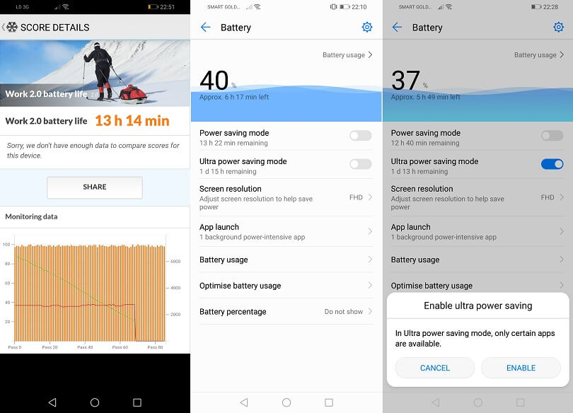 Huawei Y9 2019 Battery Stats and Settings
