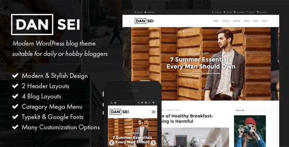 Free Download Dansei V1.0 Responsive WordPress Blog Theme