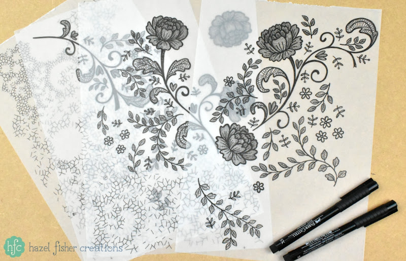 Spoonflower Contest - Lace Gift Wrap, finished White on Charcoal hand drawn surface pattern designs by Hazel Fisher Creations