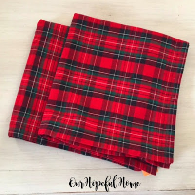 Christmas red plaid pillow cover thrifted