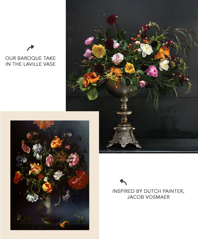 Baroque-inspired floral arrangement by BloomAtlanta for Accent Decor in the Laville Vase