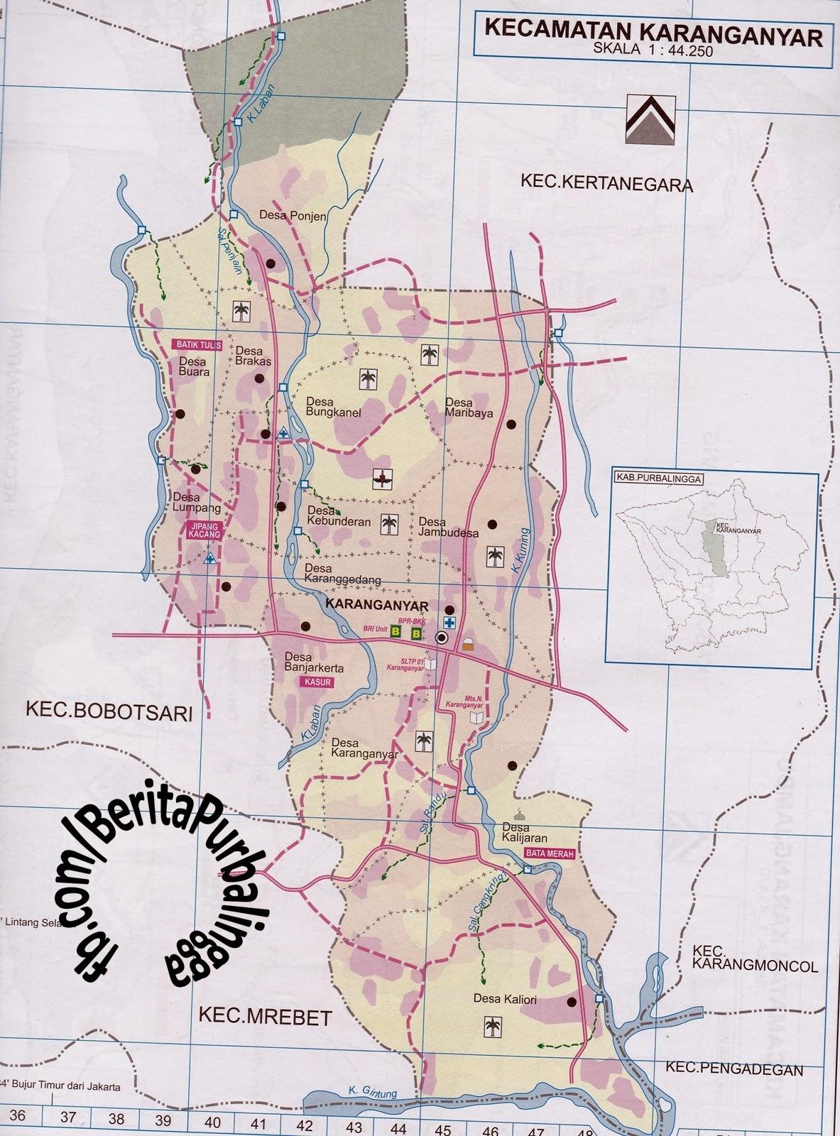 Peta Kecamatan Karanganyar (Kodepos: 53354) | Download ...
