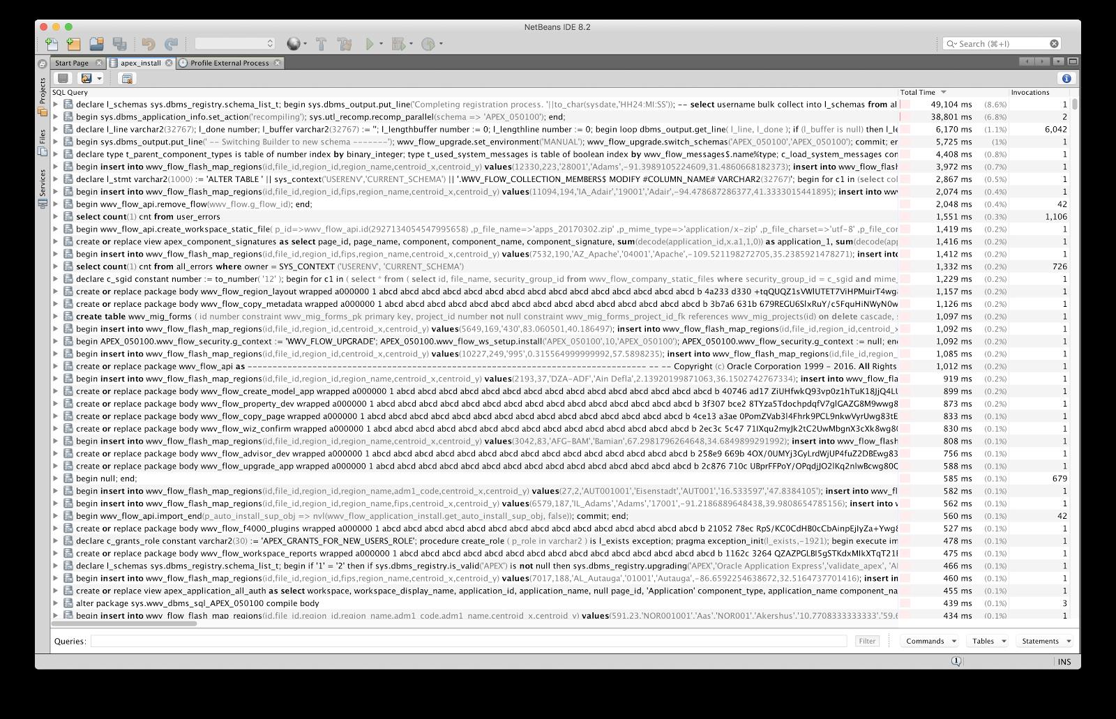 Profiling a Java + JDBC Application