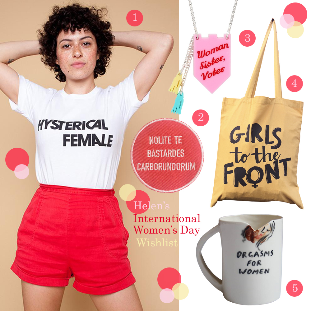Wishlist celebrating women for International Women's Day featuring Deep Breaths Collective, Devine Gunn, Glasgow Women's Library, Rachel Antonoff and Tatty Devine