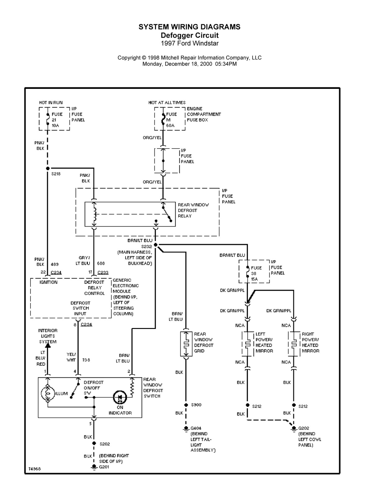 Ford Windstar Complete System Wiring Diagrams