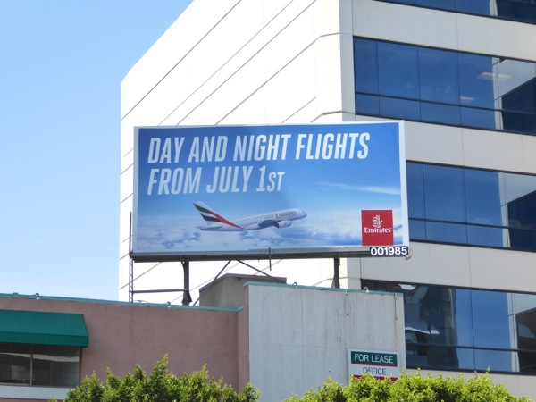 Day and night flights July 1st 2016 Emirates billboard