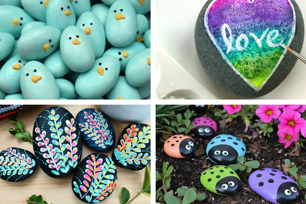 Simple rock painting ideas for beginners - simple birds, flowers, ladybugs and more