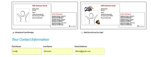 ICE contact card form