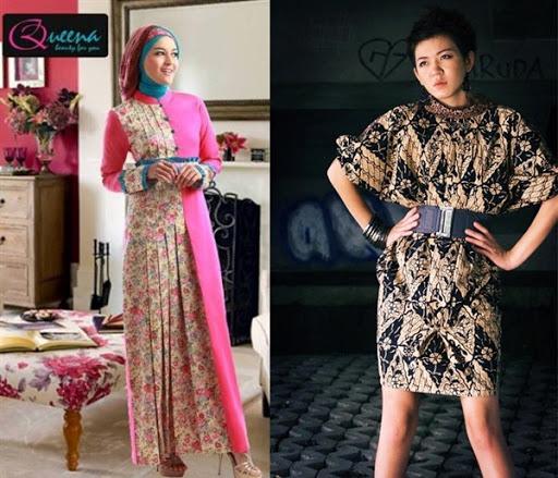 dress batik pesta modern