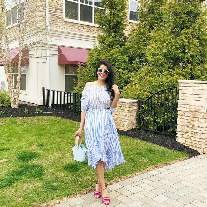 Target Who What Wear Striped Ruffle Wrap Midi Skirt, Gap Striped Off Shoulder Top, Poplin Ruffle Skirt, Danse Lente Bag Lookalike, Danse Lente Dupe, Target Pink Strappy Sandals